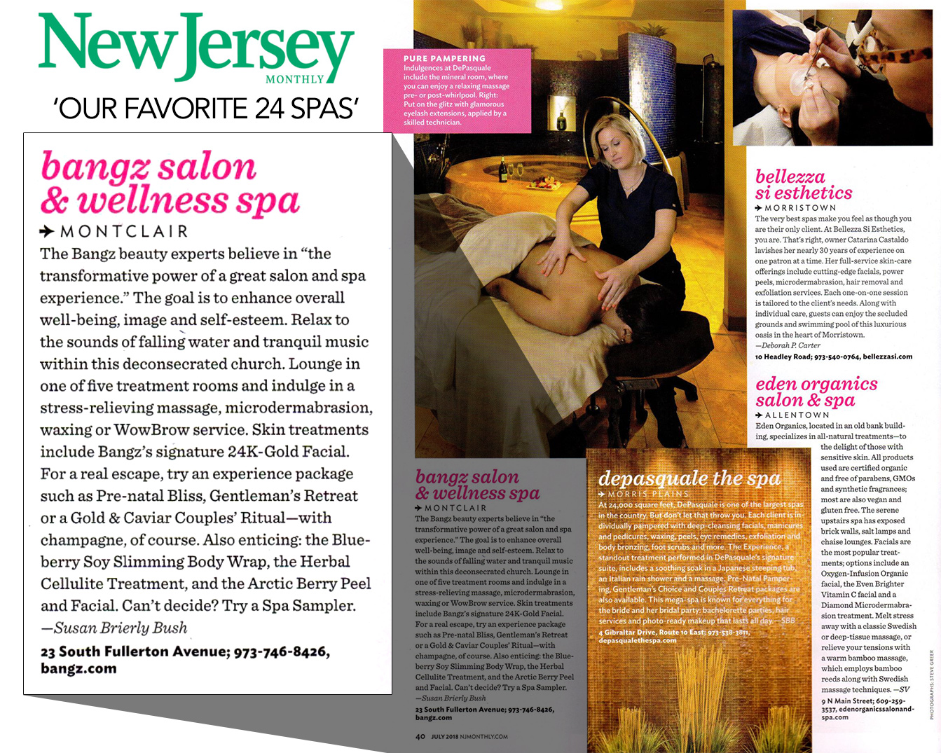 New Jersey Monthly July 2018 - Our Favorite 24 Spas in NJ - Bangz