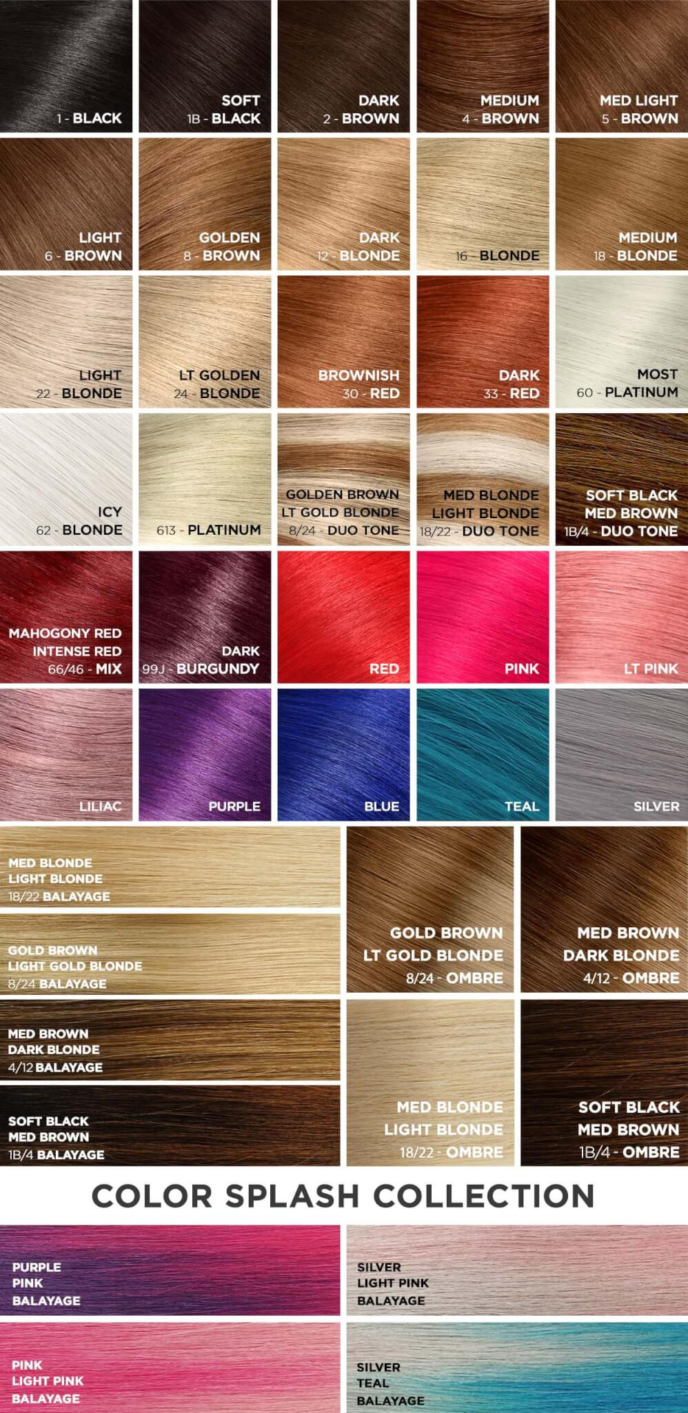 Aqua Hair Extensions Color Chart